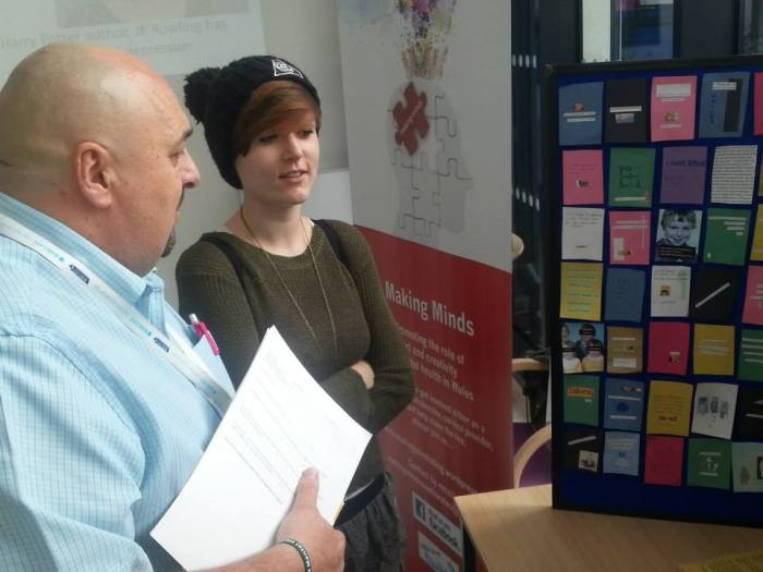 Cardiff artist Sammie Roberts, with Matthew Ingram, CPN team leader at the hospital